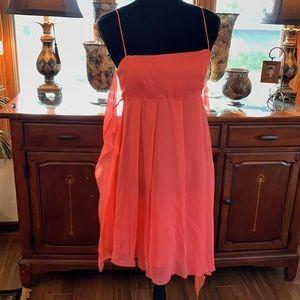 Chris Benz coral chiffon spaghetti strap dress.